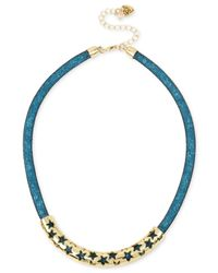 Betsey Johnson   Gold-tone Blue Crystal Mesh Filled Collar Necklace   Lyst