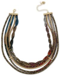 Betsey Johnson | Multicolor Gold-tone Crystal Mesh Filled Multi-layer Collar Necklace | Lyst