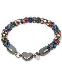 Betsey Johnson | Blue Hematite-tone Multi-crystal Heart Bracelet | Lyst