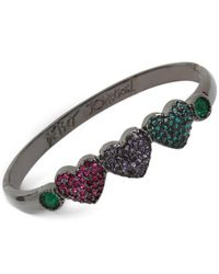 Betsey Johnson | Multicolor Hematite-tone Pavé Heart Bangle Bracelet | Lyst