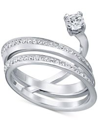 Swarovski | Metallic Crystal Pave Multi-row Chaton Statement Ring | Lyst
