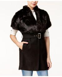 Guess | Black Cordelia Faux-fur-collar Jacket | Lyst