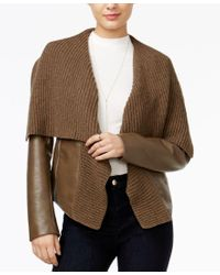 Guess | Brown Aileen Faux-leather Sweater Jacket | Lyst