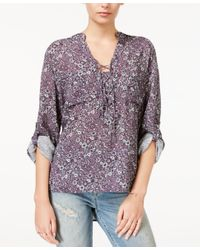 William Rast | Purple Printed Lace-up Top | Lyst