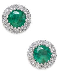 Macy's | Green Emerald (5/8 Ct. T.w.) And Diamond (1/10 Ct. T.w.) Stud Earrings In 14k White Gold | Lyst