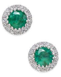 Macy's | Green Emerald (5/8 Ct. T.w.) And Diamond (1/10 Ct. T.w.) Stud Earrings In 14k White Gold | Lyst