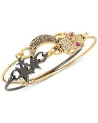 Betsey Johnson | Metallic Two-tone 3-pc. Set Owl, Stars And Moon Bangle Bracelet Set | Lyst