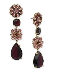 kate spade new york | Metallic Gold-tone Stone And Crystal Drop Earrings | Lyst