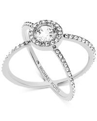 Michael Kors | Metallic Crystal Pavé Crisscross Barrel Ring | Lyst