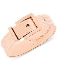 Michael Kors | Natural Wide Ribbed Buckle Bangle Bracelet | Lyst