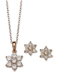 Giani Bernini | Metallic Cubic Zirconia Flower Pendant Necklace And Stud Earrings Set In 18k Rose Gold-plated Sterling Silver | Lyst