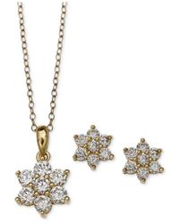 Giani Bernini | Metallic Cubic Zirconia Flower Pendant Necklace And Stud Earrings Set In 18k Gold-plated Sterling Silver | Lyst