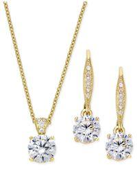 Danori | Metallic Crystal Pendant Necklace And Matching Drop Earrings Set | Lyst