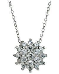 Giani Bernini | Metallic Cubic Zirconia Cluster Pendant Necklace In Sterling Silver | Lyst