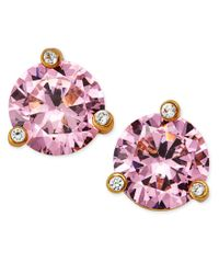 kate spade new york   Gold-tone Pink Stone And Crystal Stud Earrings   Lyst