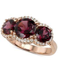 Macy's | Multicolor Rhodolite Garnet (5 Ct. T.w.) And Diamond (1/4 Ct. T.w.) Three Stone Ring In 14k Rose Gold | Lyst