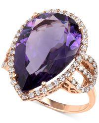 Macy's | Purple Amethyst (11-1/2 Ct. T.w.) And Diamond (3/4 Ct. T.w.) Teardrop Ring In 14k Rose Gold | Lyst