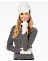 Rampage | White Slouchy Button Beanie And Gloves Set, Only At Macy's | Lyst