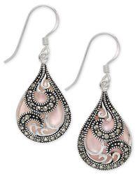 Macy's - Metallic Marcasite & Pink Shell Teardrop Drop Earrings In Fine Silver-plate - Lyst