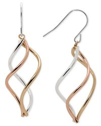Macy's | Metallic Tri-tone Swirl Drop Earrings In Sterling Silver, 14k Gold-plate, And 14k Rose Gold-plate | Lyst