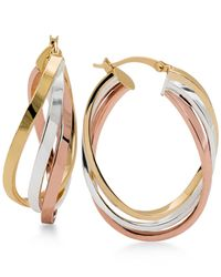 Macy's | Metallic Tri-tone Twisted Hoop Earrings In Sterling Silver, 14k Gold-plate And 14k Rose Gold-plate | Lyst