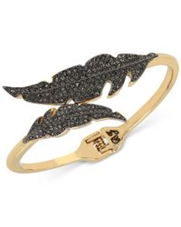 Betsey Johnson | Metallic Two-tone Jet Pavé Feather Bypass Hinged Bangle Bracelet | Lyst
