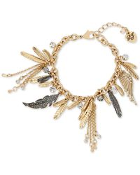 Betsey Johnson | Metallic Two-tone Feather And Crystal Charm Bracelet | Lyst