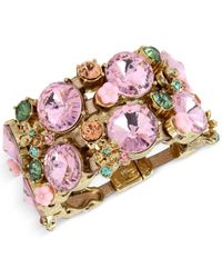 Betsey Johnson | Multicolor Gold-tone Pink Crystal Metallic Leather Wide Link Bracelet | Lyst