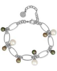 Majorica | Metallic Silver-tone Multi Imitation Pearl Link Bracelet | Lyst