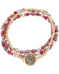 Kenneth Cole   Red 3-pc. Set Crystal And Stone Stretch Bracelets   Lyst