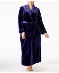 Oscar de la Renta | Blue Plus Size Charmeuse-trimmed Velvet Wrap Robe | Lyst