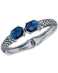 2028 | Blue Faceted Stone Hinged Bangle Bracelet | Lyst