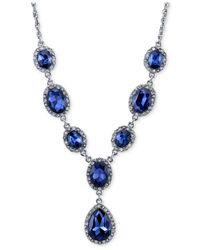 2028 - Silver-tone Blue Stone Pavé Lariat Necklace - Lyst