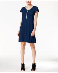 Kensie | Blue Zip-detail T-shirt Dress | Lyst