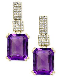 Effy Collection | Metallic Amethyst (5-1/3 Ct. T.w.) And Diamond (1/5 Ct. T.w.) Drop Earrings In 14k Gold | Lyst