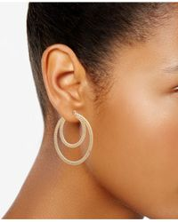 Nine West - Metallic Textured Double Hoop Earrings - Lyst