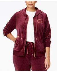 Calvin Klein   White Plus Size Zip-front Velour Hooded Jacket   Lyst