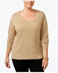 Michael Kors | Natural Plus Size Cold-shoulder Metallic Sweater | Lyst