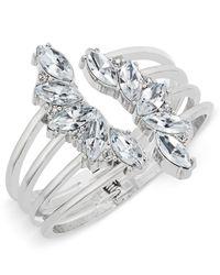 INC International Concepts | Metallic Gold-tone Crystal Leaf Cuff Bracelet | Lyst