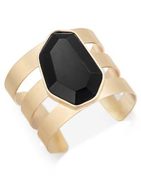 INC International Concepts | Metallic Gold-tone Black Stone Cuff Bracelet, Only At Macy's | Lyst