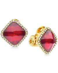 Anne Klein | Metallic Gold-tone Crystal Clip-on Earrings | Lyst