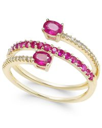 Macy's | Red Certified Ruby (3/4 Ct. T.w.) And Diamond (1/10 Ct. T.w.) Coil Ring In 14k Gold | Lyst