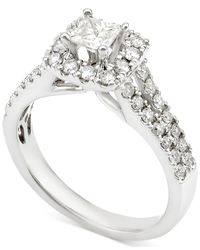 Macy's | Metallic Diamond Square Halo Engagement Ring (1 Ct. T.w.) In 14k White Gold | Lyst