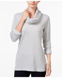 Maison Jules | Gray Striped Cowl-neck Top, Only At Macy's | Lyst