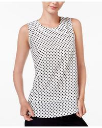 Maison Jules | Black Tiered Polka-dot Top, Only At Macy's | Lyst