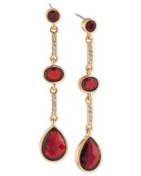 Carolee | Metallic Gold-tone Burgundy Stone And Pavé Linear Drop Earrings | Lyst