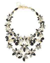 Anne Klein - Multicolor Gold-tone Stone And Crystal Floral Statement Necklace - Lyst