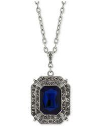 2028 | Metallic Hematite-tone Blue Stone Pendant Necklace | Lyst