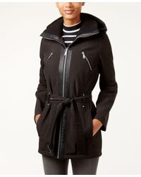 BCBGeneration | Black Hooded Zip-front Belted Coat | Lyst