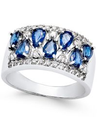 Macy's | Multicolor Sapphire (2-1/10 Ct. T.w.) And Diamond (3/8 Ct. T.w.) Statement Ring In 14k White Gold | Lyst